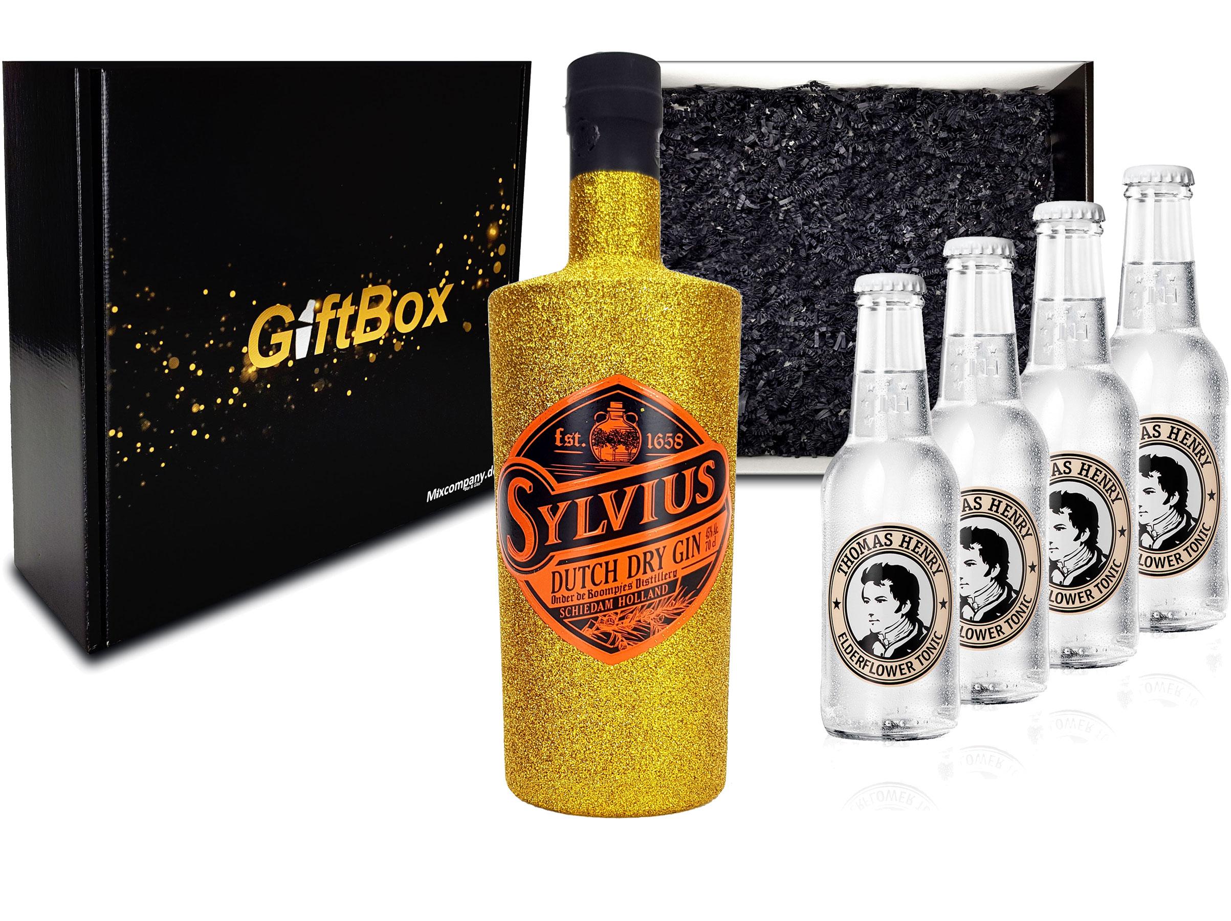 Gin Tonic Bling Bling Gold Glitzer Set Giftbox Geschenkset - Sylvius Dutch Gin 0,7l 700ml (45% Vol) + 4x Thomas Henry Elderflower Tonic Water 200ml inkl. Pfand MEHRWEG -[Enthält Sulfite]