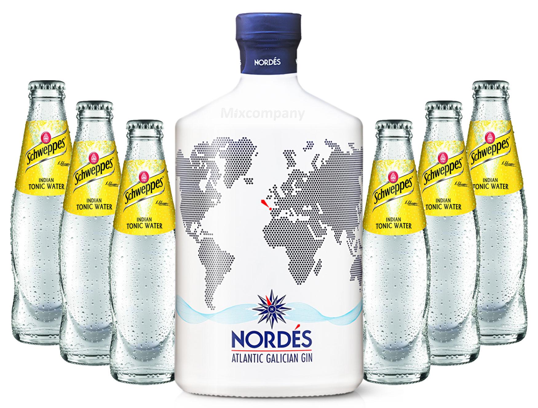 Nordes Atlantic Galician Gin aus Galizien 0,7l (40% Vol) + 6x Schweppes Indian Tonic Water 0,2l MEHRWEG inkl. Pfand- [Enthält Sulfite]