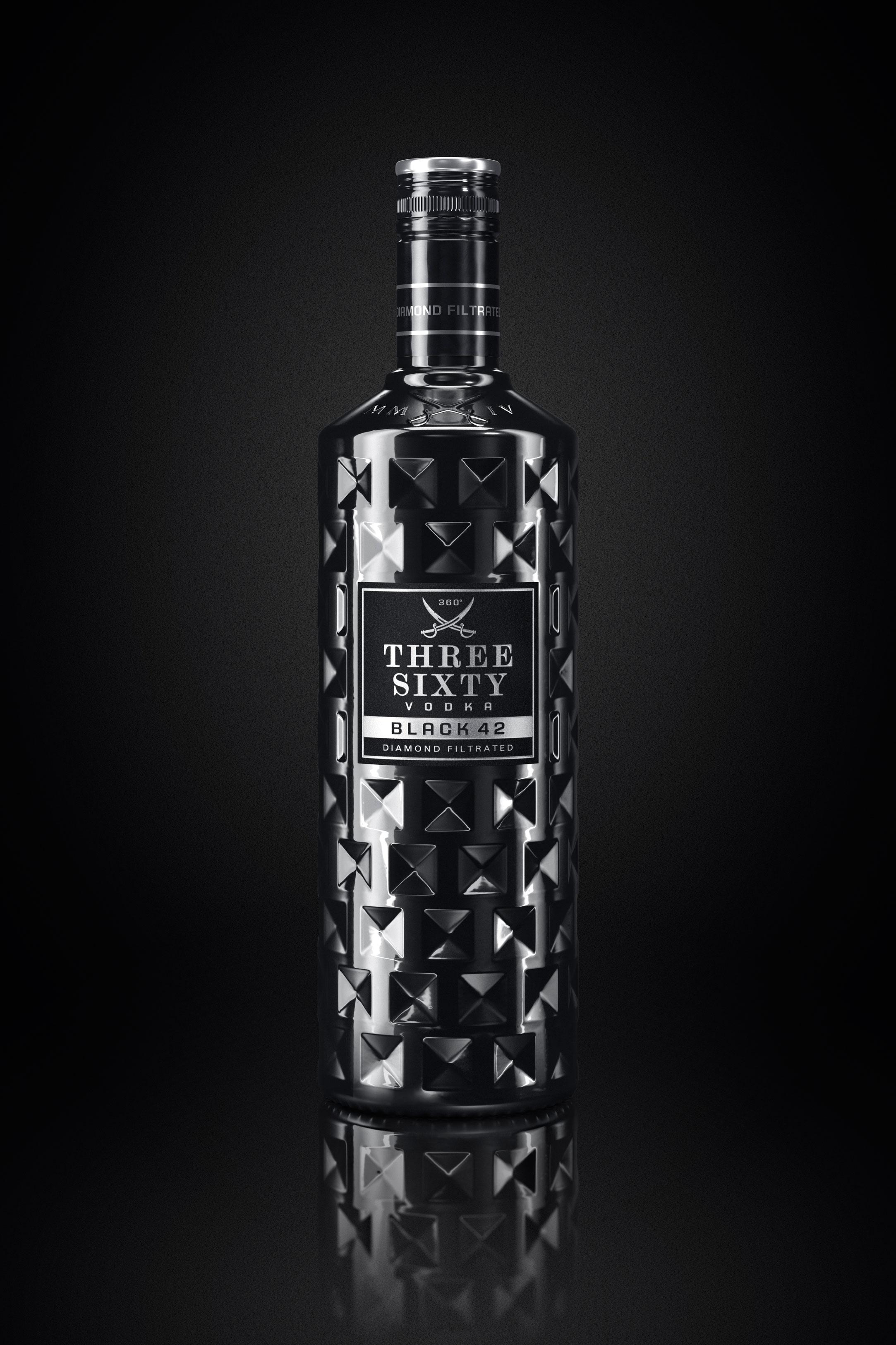 Three Sixty Vodka Glas Gläser-Set - 6x Black Longdrink-Gläser eckig schwarz