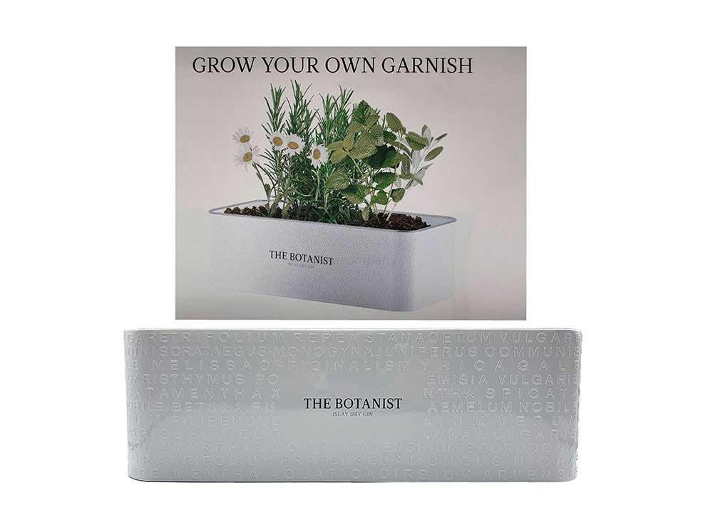 The Botanist Gin Blumenkasten / Blumentopf / Botanical Anbau in weiß Pflanzkübel aus Metall mit dem Logo der Destillerie