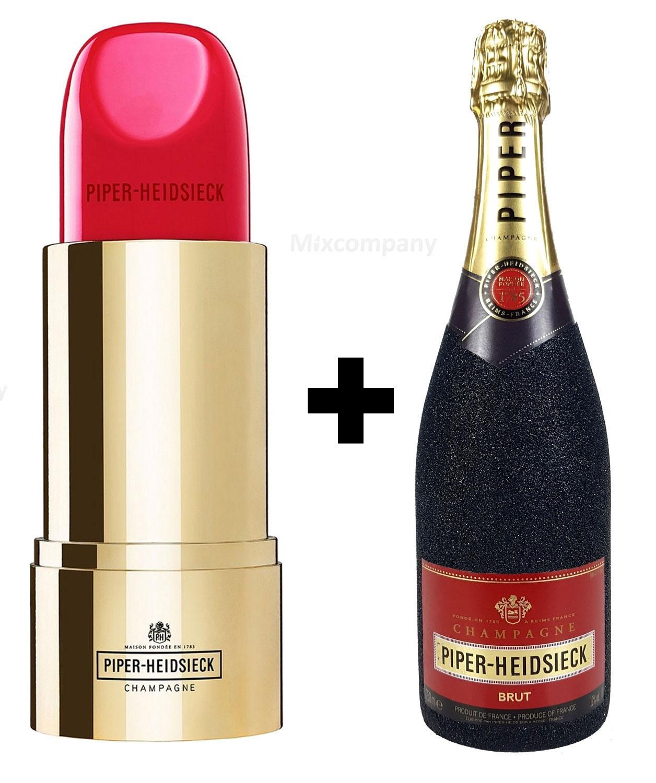 Piper-Heidsieck Brut Champagner 0,75l (12% Vol) Bling Bling Glitzerflasche in schwarz + Verpackung in Lipstick Lippenstift Form - [Enthält Sulfite]
