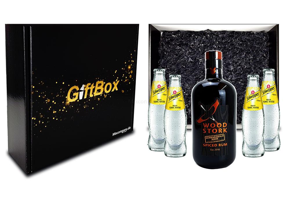 Mixcompany Geschenkset - Wood Stork Rum 0,5L (40%Vol) + 4 x Schweppes Indian Tonic Water 0,2l MEHRWEG inkl. Pfand- Wood Stork Rum Geschenk Set [Enthält Sulfite]