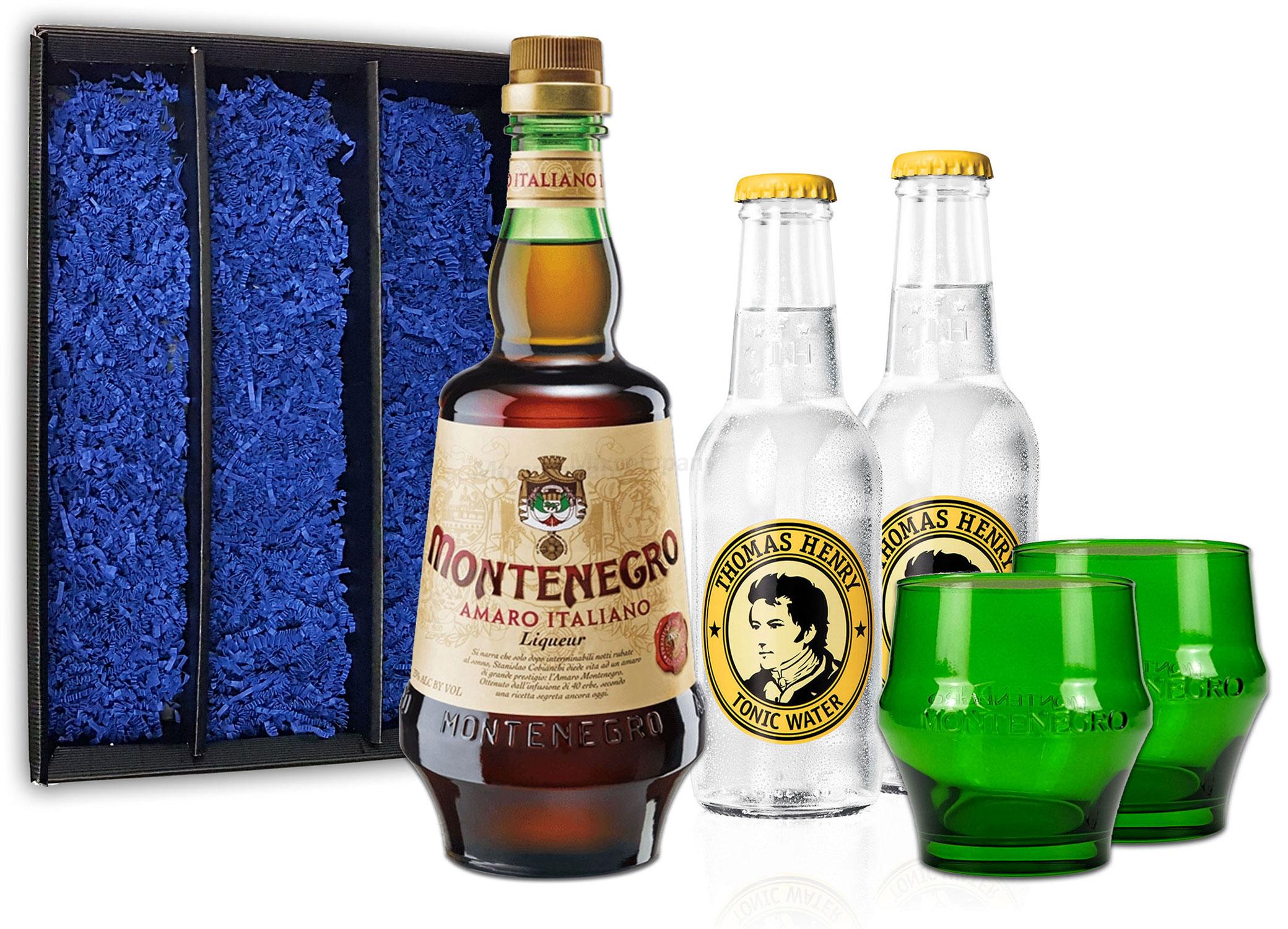 Montenegro & Tonic Geschenkset - Montenegro Amaro Italiano Likör 0,7L (23% Vol) + 2x Thomas Henry Tonic Water 200ml inkl. Pfand MEHRWEG + 2x Gläser Shot Glas grün