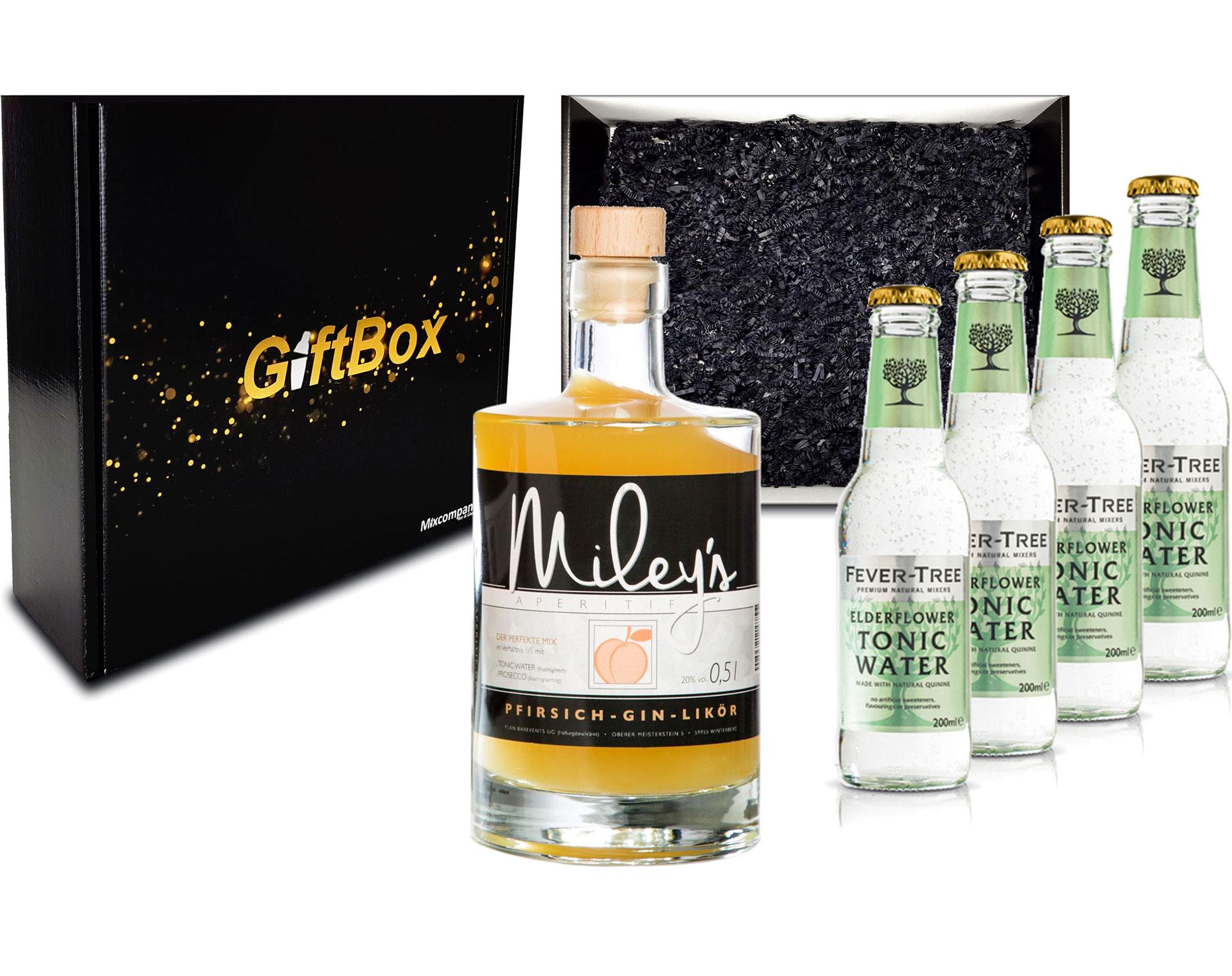 Gin Tonic Giftbox Geschenkset - Mileys Pfirsich Gin Likör 0,5l (20% Vol) + 4x Fever Tree Elderflower Water 200ml inkl. Pfand MEHRWEG - [Enthält Sulfite]