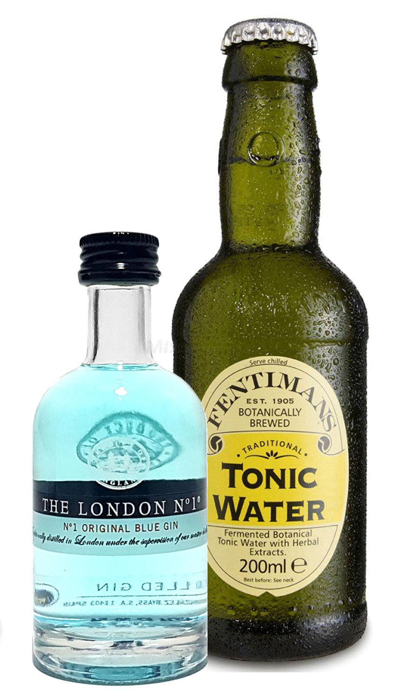 Gin Tonic Probierset - The London N1 Blue Gin 50ml (47% Vol)+ Fentimans Tonic Water 200ml inkl. Pfand MEHRWEG