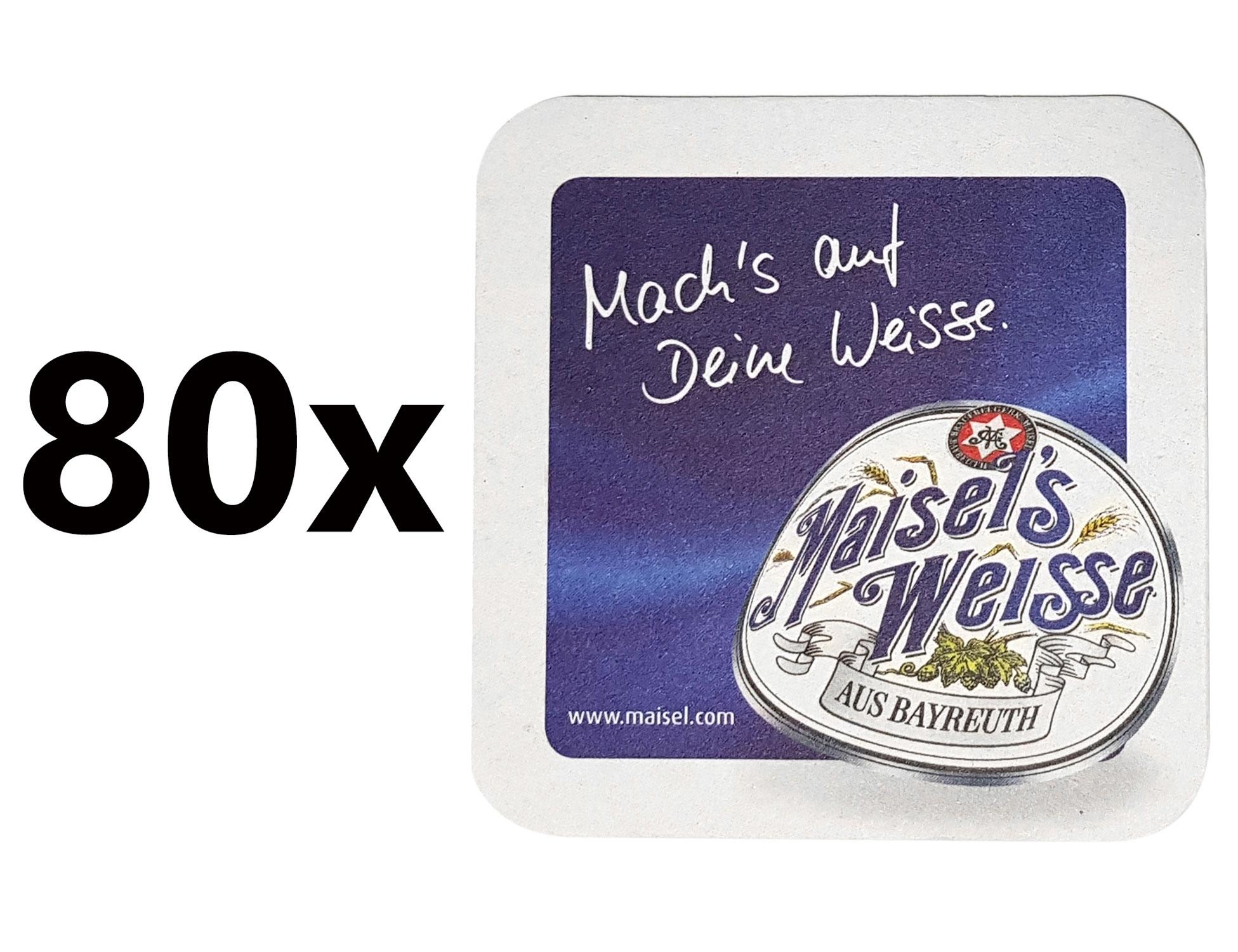 Maisels Weisse Bierdeckel Untersetzer Unterlage Pappdeckel Bierfilz - 80er Packung