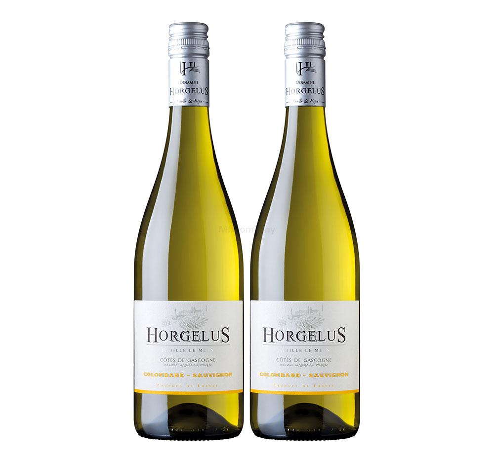 Horgelus Colombard Sauvignon - 2er Set Weißwein 0,75L (11,5% Vol) - Côtes de Gascogne Frankreich- [Enthält Sulfite]