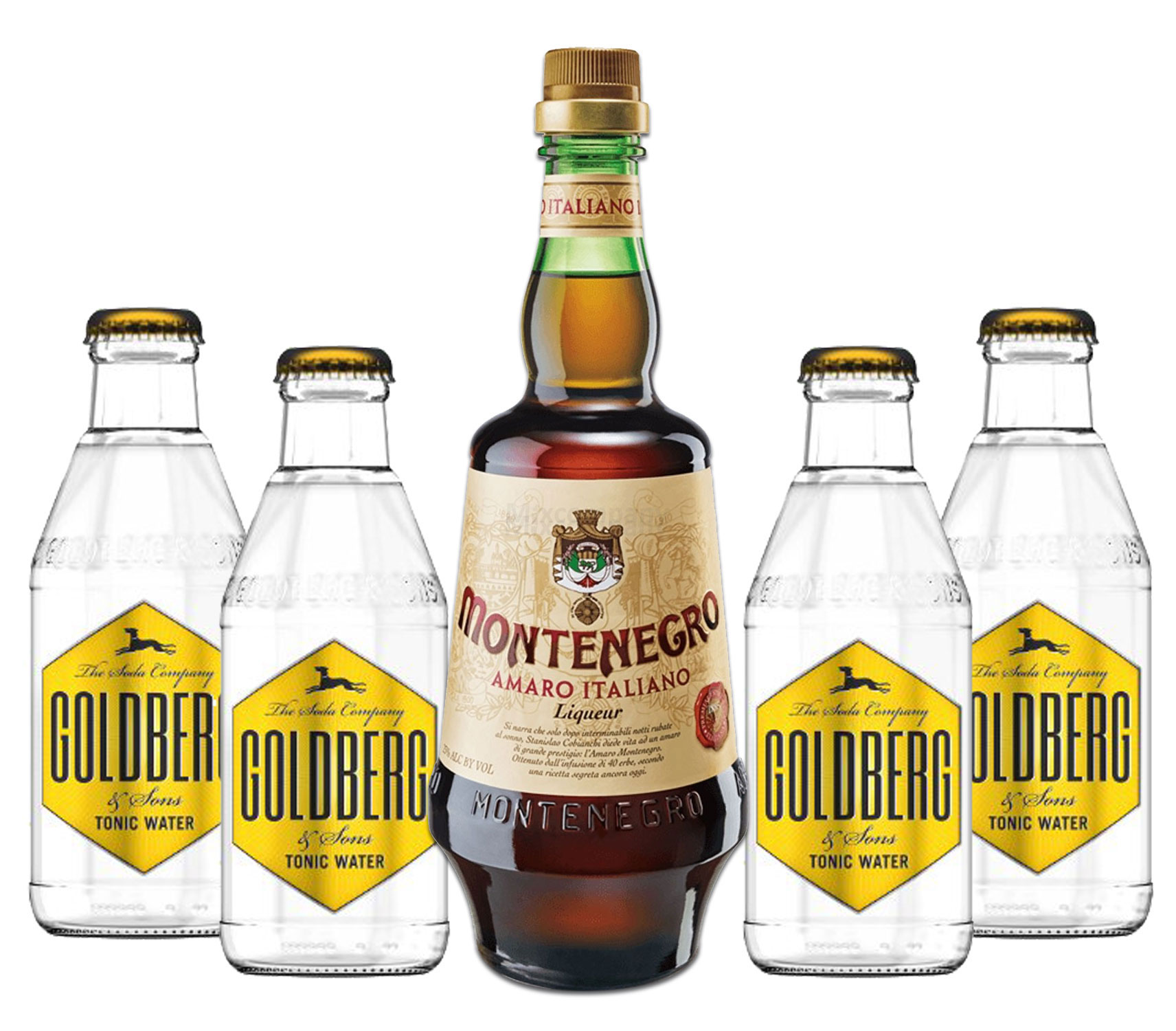 Montenegro & Tonic Set - Montenegro Amaro Italiano Likör 0,7L (23% Vol) + 4x Goldberg Tonic Water 200ml inkl. Pfand MEHRWEG