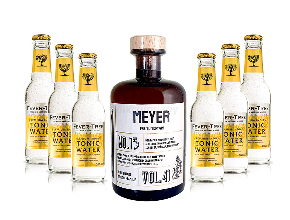 Mein Gin - Meyer Premium Dry Gin 0,5l (41% Vol) - Meyer s Gin No.13 + 6x Fever-Tree Indian Tonic Water 200ml inkl. Pfand MEHRWEG -[Enthält Sulfite]