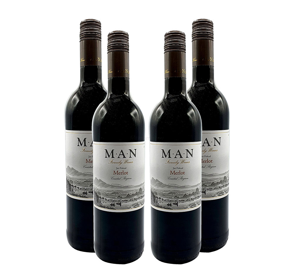 MAN Rotwein - 4er Set - 4x 0,75L (14% Vol) - Jan Fiskaal Merlot - Südafrika- [Enthält Sulfite]