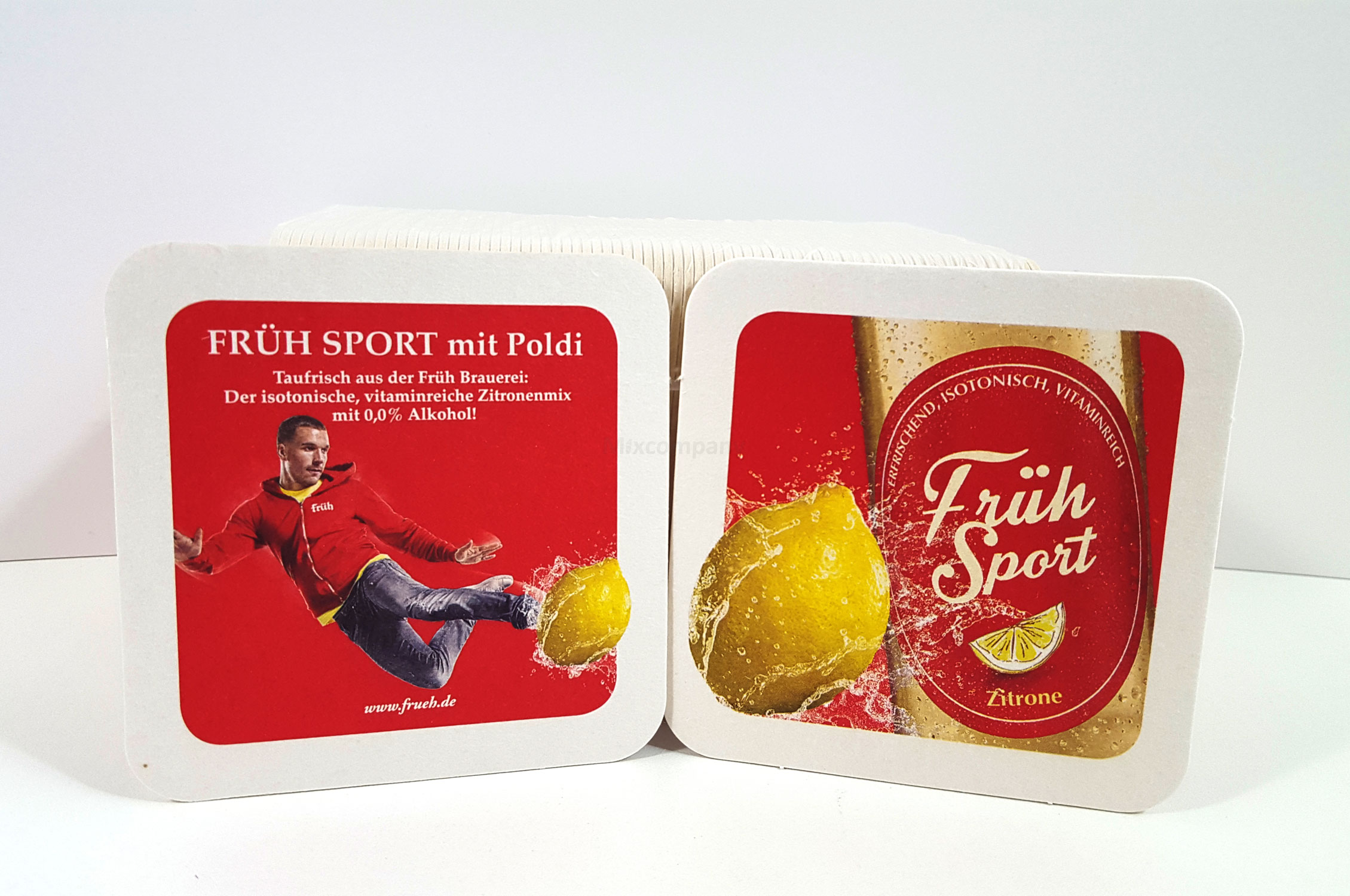 Früh Bierdeckel 75Stk. pro Packung - Podolski Motiv