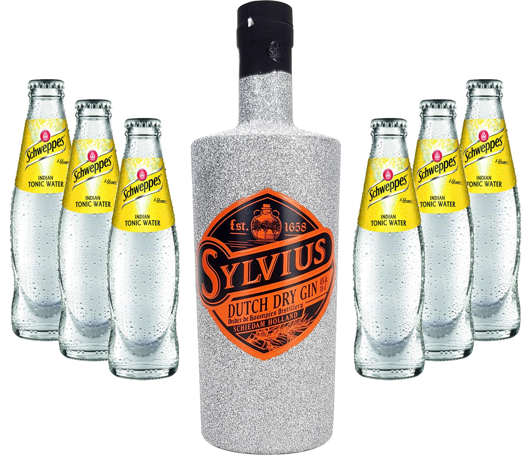 Gin Tonic Bling Bling Silber Glitzer Set Geschenkset - Sylvius Dutch Gin 0,7l 700ml (45% Vol) + 6x Schweppes Tonic Water 200ml inkl. Pfand MEHRWEG -[Enthält Sulfite]