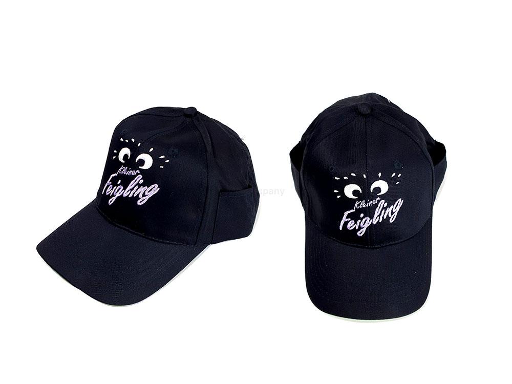 Kleiner Feigling Hut Mütze Cap - Kappe / Baseball / Cap in Schwarz mit Logo 2x