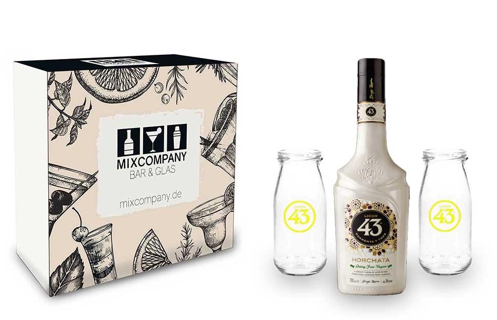 Licor 43 Geschenkset - Licor 43 Cuarenta y Tres Orochata 0,7l 700ml (16% Vol) + 2x Milchgläser -[Enthält Sulfite] Likör Liquor 43er