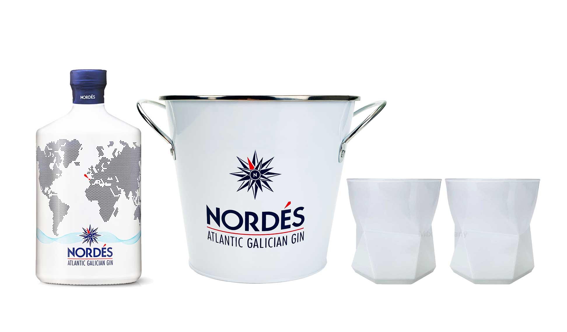 Gin Set - mit Nordes Atlantic aus Galizien 0,7l (40% Vol) -[Enthält Sulfite] Flaschenkühler 2x Nordes Gläser Tumbler weiss