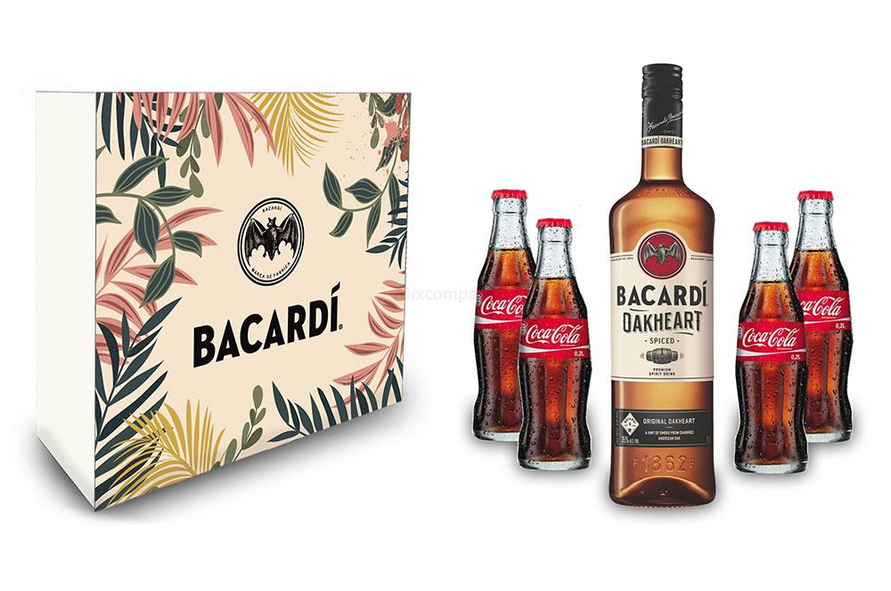 Bacardi Geschenkset - Bacardi Oakheart Spiced Rum 0,7l 700ml (35% Vol) und 4x Coca Cola je 0,2L - Inkl. Pfand MEHRWEG