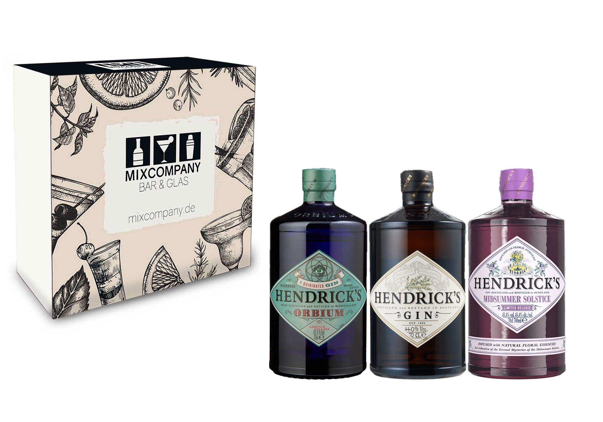Hendricks Gin Geschenkset - Hendricks Gin 0,7L (44% Vol) + Hendricks Midsummer Gin 0,7L (43,4% Vol) + Hendricks Orbium Gin 0,7L (43,4% Vol) + Giftbox - [Enthält Sulfite]