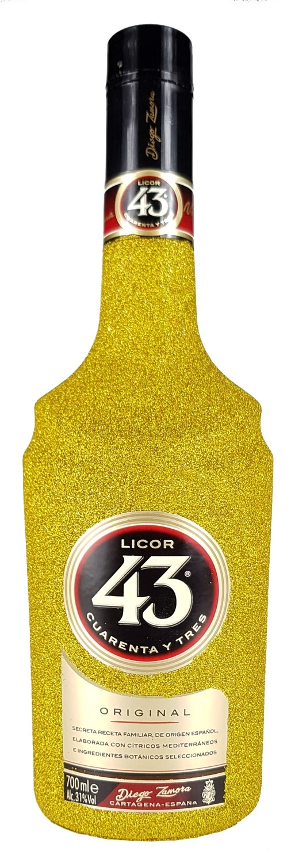 Licor 43 Cuarenta y Tres 0,7l 700ml (31% Vol) - Bling Bling Glitzerflasche in gold -[Enthält Sulfite] Likör Liquor 43er