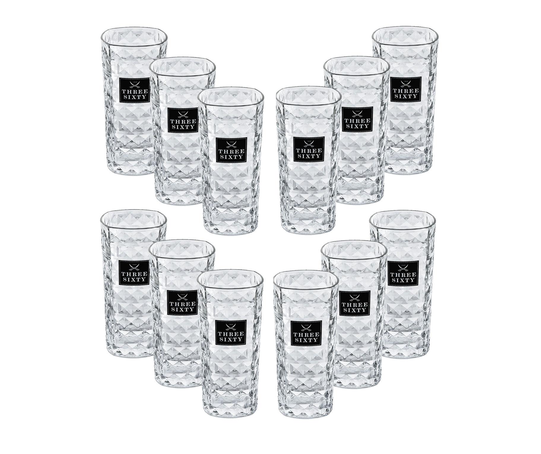 Three Sixty Vodka Glas Gläser-Set - 12x Longdrink-Gläser eckig
