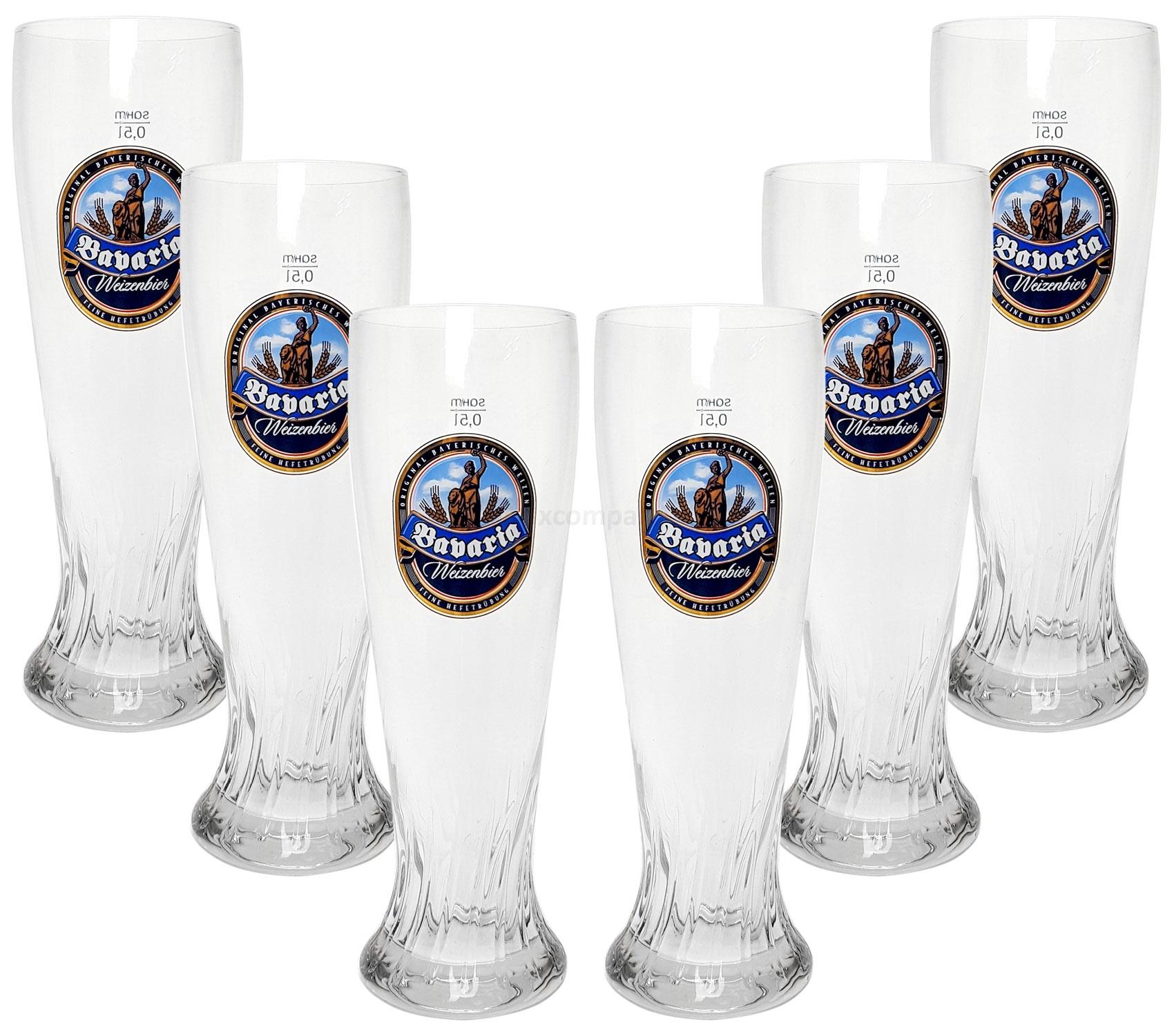 Babaria Weizenbier Bierglas Glas Gläserset - 6x Biergläser 0,5L