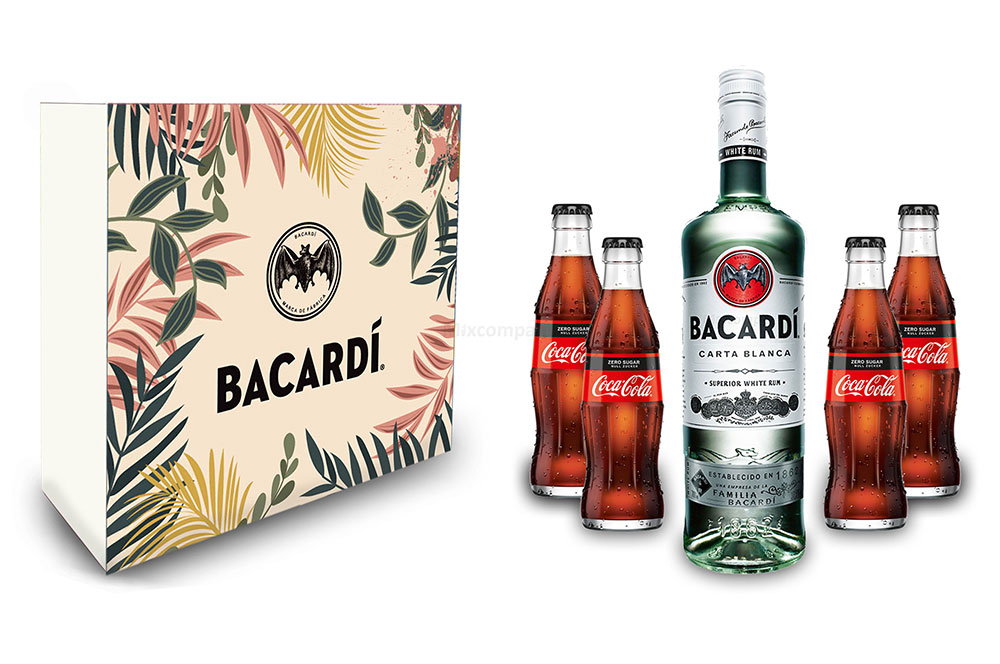 Bacardi Geschenkset - Bacardi Carta Blanca Rum 0,7l 700ml (37,5% Vol) + 4x Cola ZERO 0,2L Inkl. Pfand MEHRWEG- [Enthält Sulfite]