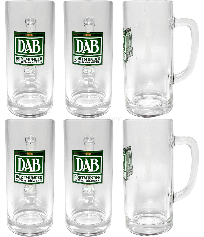 DAB Bierglas Krug Glas Gläser-Set - 6x Bierhumpen Krüge mit Henkel