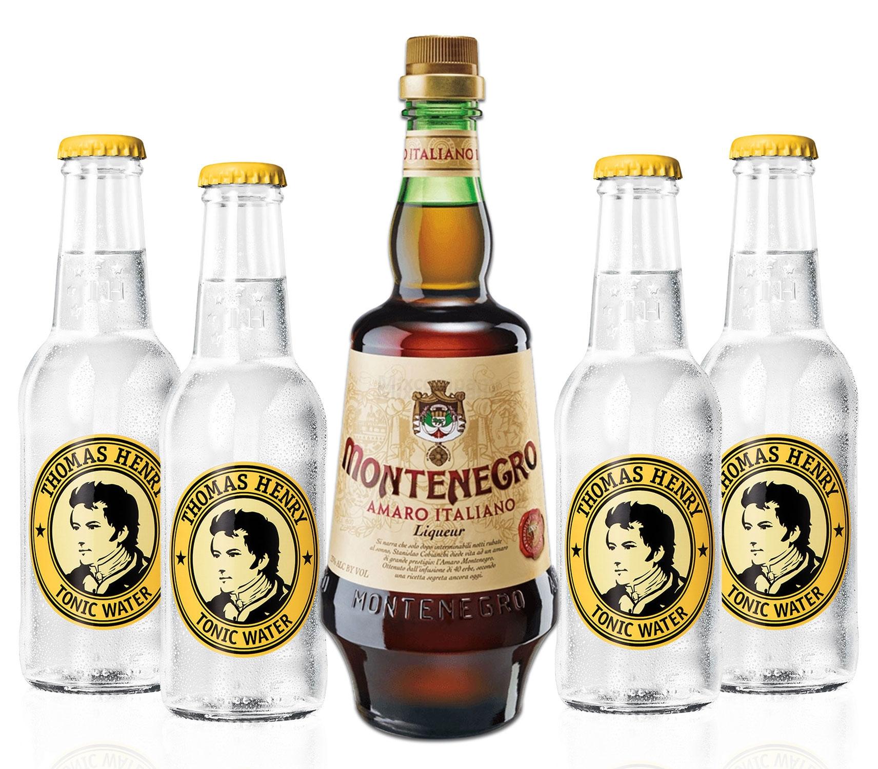 Montenegro & Tonic Set - Montenegro Amaro Italiano Likör 0,7L (23% Vol) + 4x Thomas Henry Tonic Water 200ml inkl. Pfand MEHRWEG