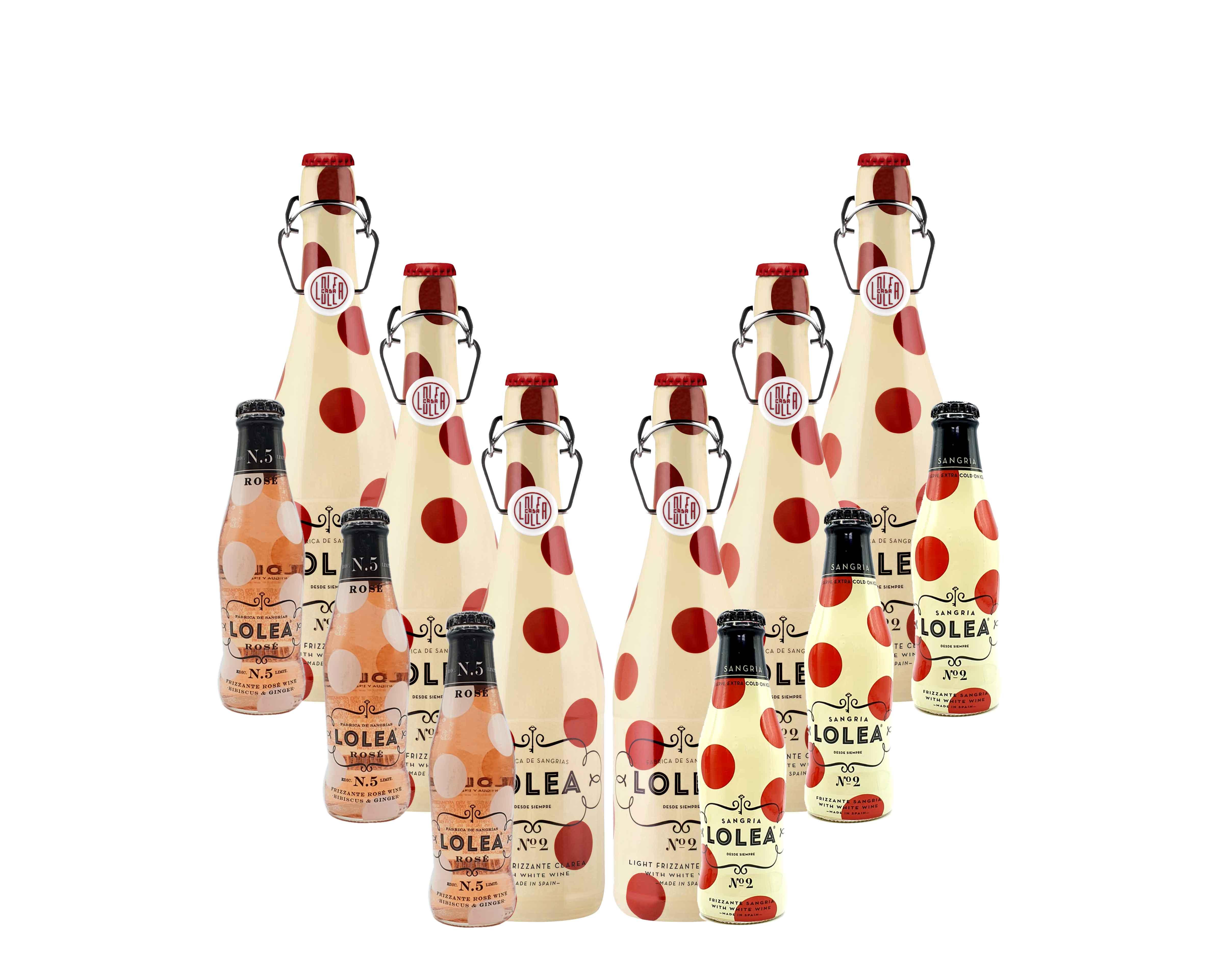 Lolea 6er Set Sangria N°2 WEIß 0,75L (7% Vol) 6x Weißwein Sangria Chardonnay + 6 Minis GRATIS 3x ROSE 0,2L (8% Vol) 3x WEIß 0,2L (7% Vol)- [Enthält Sulfite]