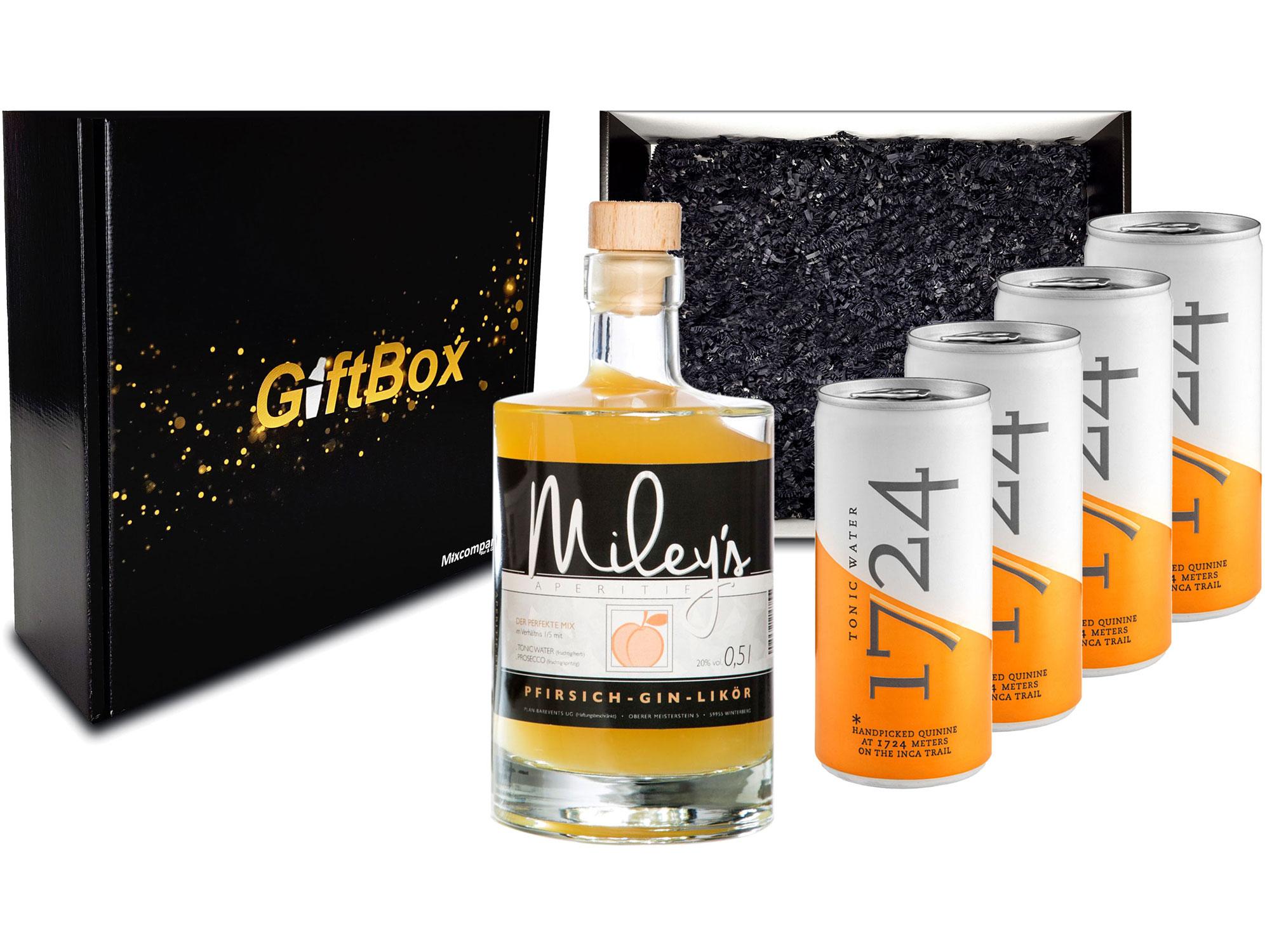 Gin Tonic Giftbox Geschenkset - Mileys Pfirsich Gin Likör 0,5l (20% Vol) + 4x 1724 Tonic Water Dose 200ml inkl. Pfand EINWEG - [Enthält Sulfite]