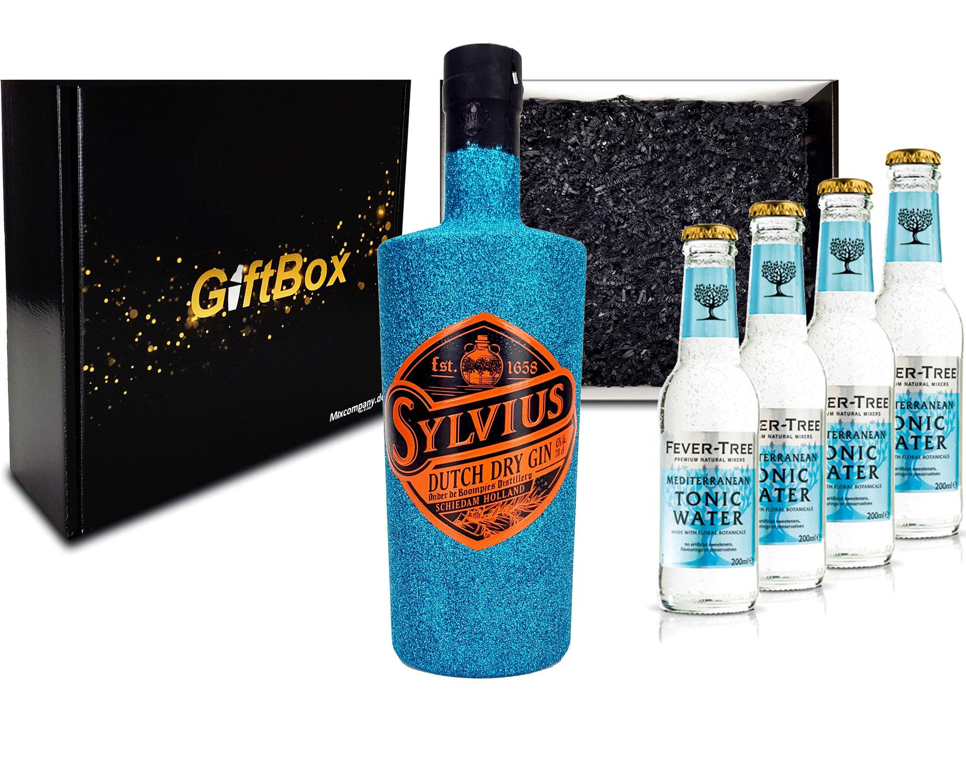Gin Tonic Giftbox Geschenkset - Sylvius Dutch Gin Bling Bling Glitzerflasche Blau 0,7l 700ml (45% Vol) + 4x Fever Tree Mediterranean Tonic Water 200ml inkl. Pfand MEHRWEG - [Enthält Sulfite]