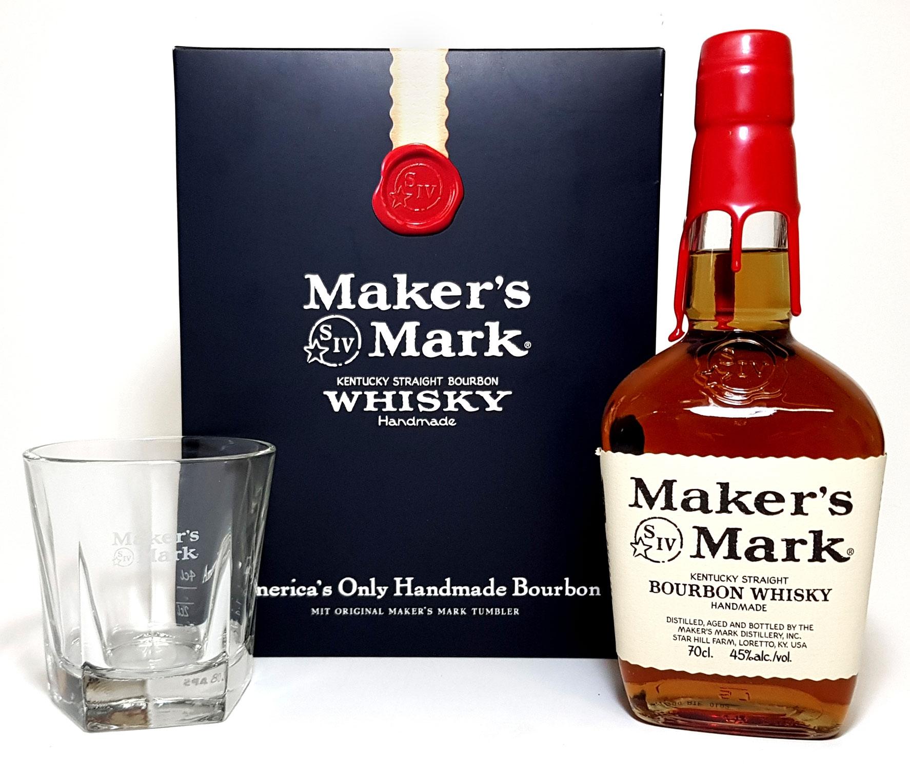Makers Mark Set - Makers Mark Bourbon Whisky 0,7l 700ml (45% Vol) + Tumbler geeicht 2/4cl