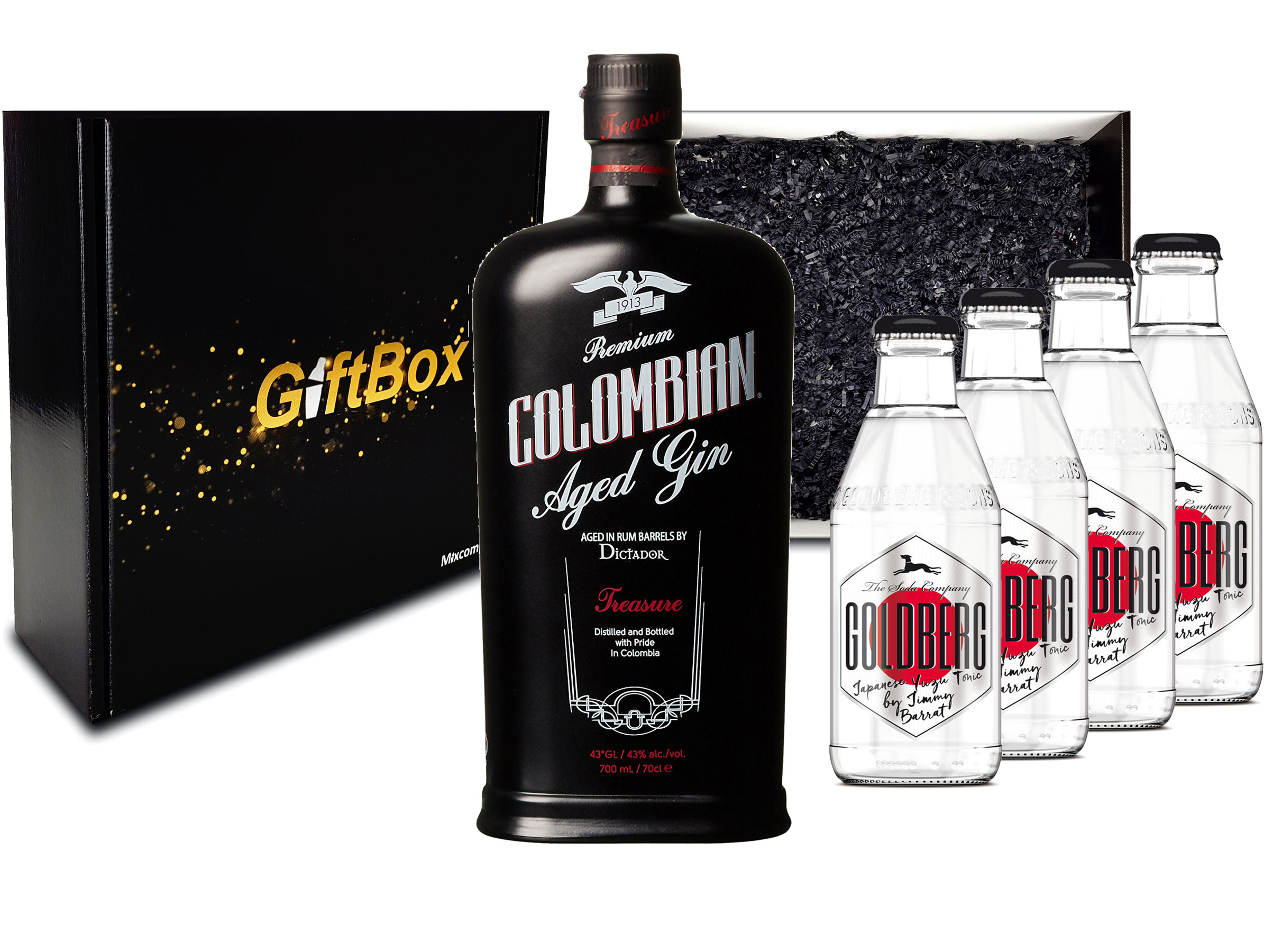 Gin Tonic Set Giftbox Geschenkset - Dictador Premium Colombian Aged Gin 0,7l 700ml (43% Vol) + 4x Goldberg Japanese Yuzu Tonic Water 200ml inkl. Pfand MEHRWEG -[Enthält Sulfite]