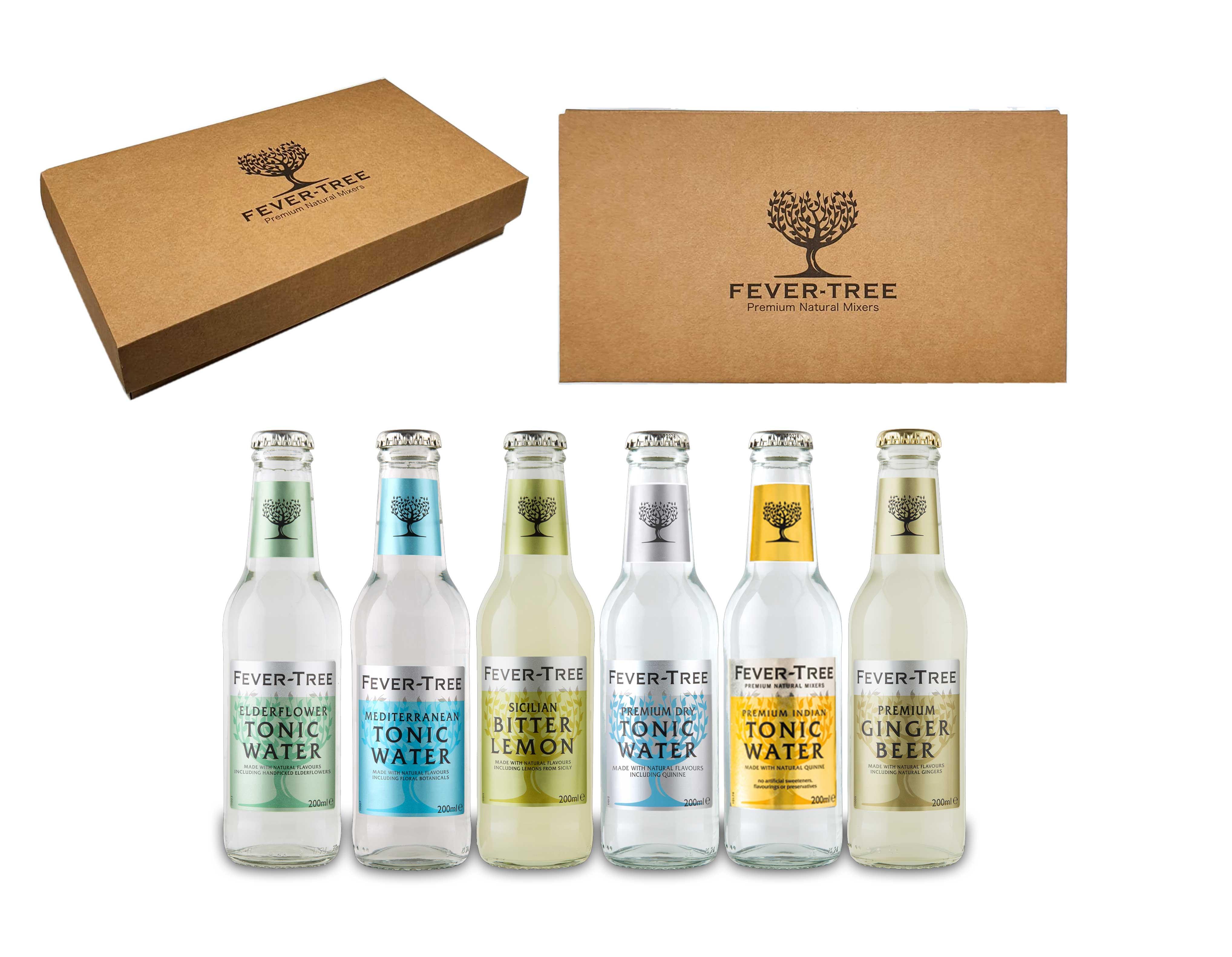 Fever-Tree 6er Set - Elderflower- , Dry-, Mediterranean-, Indian Tonic Water + Ginger Beer + Bitter Lemon - je 200ml inkl. Pfand MEHRWEG