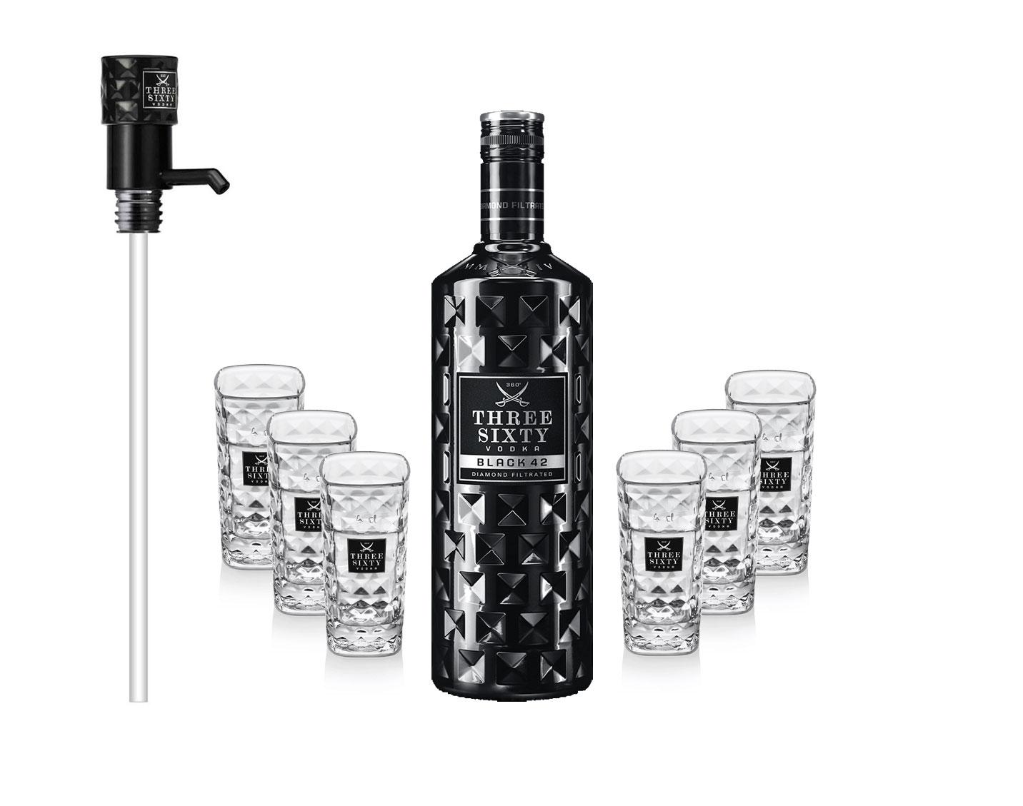 Three Sixty Set Geschenkset - Three Sixty Black Vodka Wodka 3L 3000ml (42% Vol) + 6x Shotgläser Glas 2 und 4cl geeicht + Pumpe - [Enthält Sulfite]