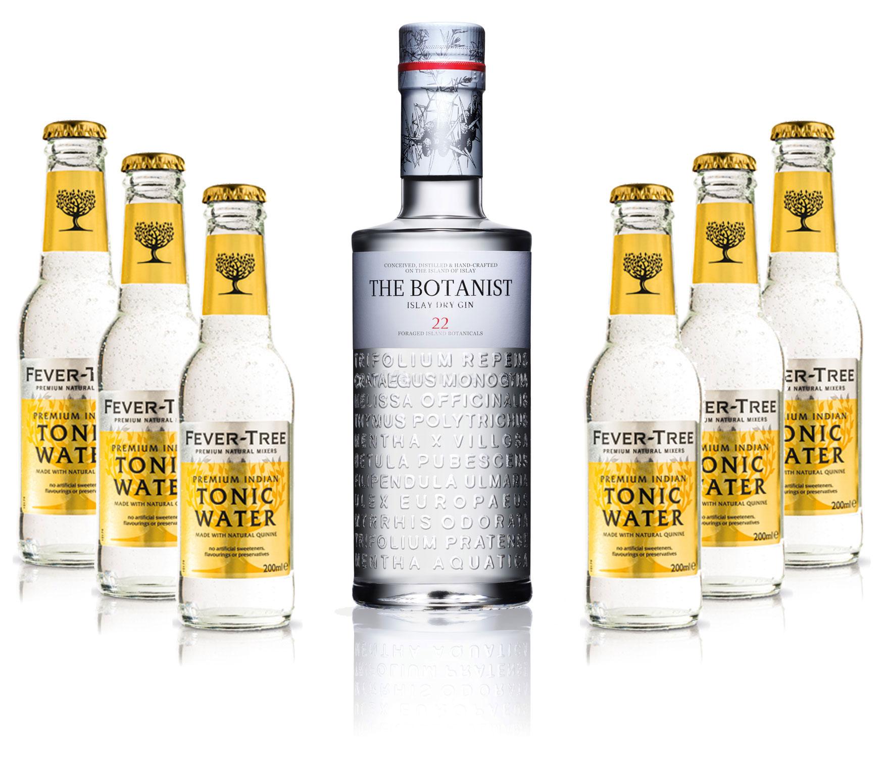 Gin Tonic Set - The Botanist Islay Dry Gin 0,7l 700ml (46% Vol) + 6x Fever Tree Tonic Water 200ml inkl. Pfand MEHRWEG