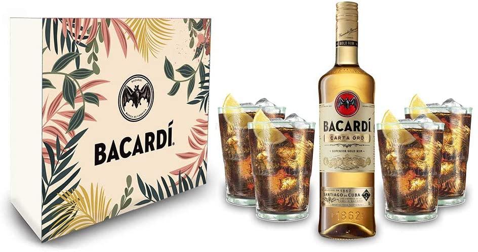 Bacardi Geschenkset - Bacardi Carta Oro Gold Rum 0,7l (40% Vol) + 4er Set Gläser - Longdrink Glas- [Enthält Sulfite]