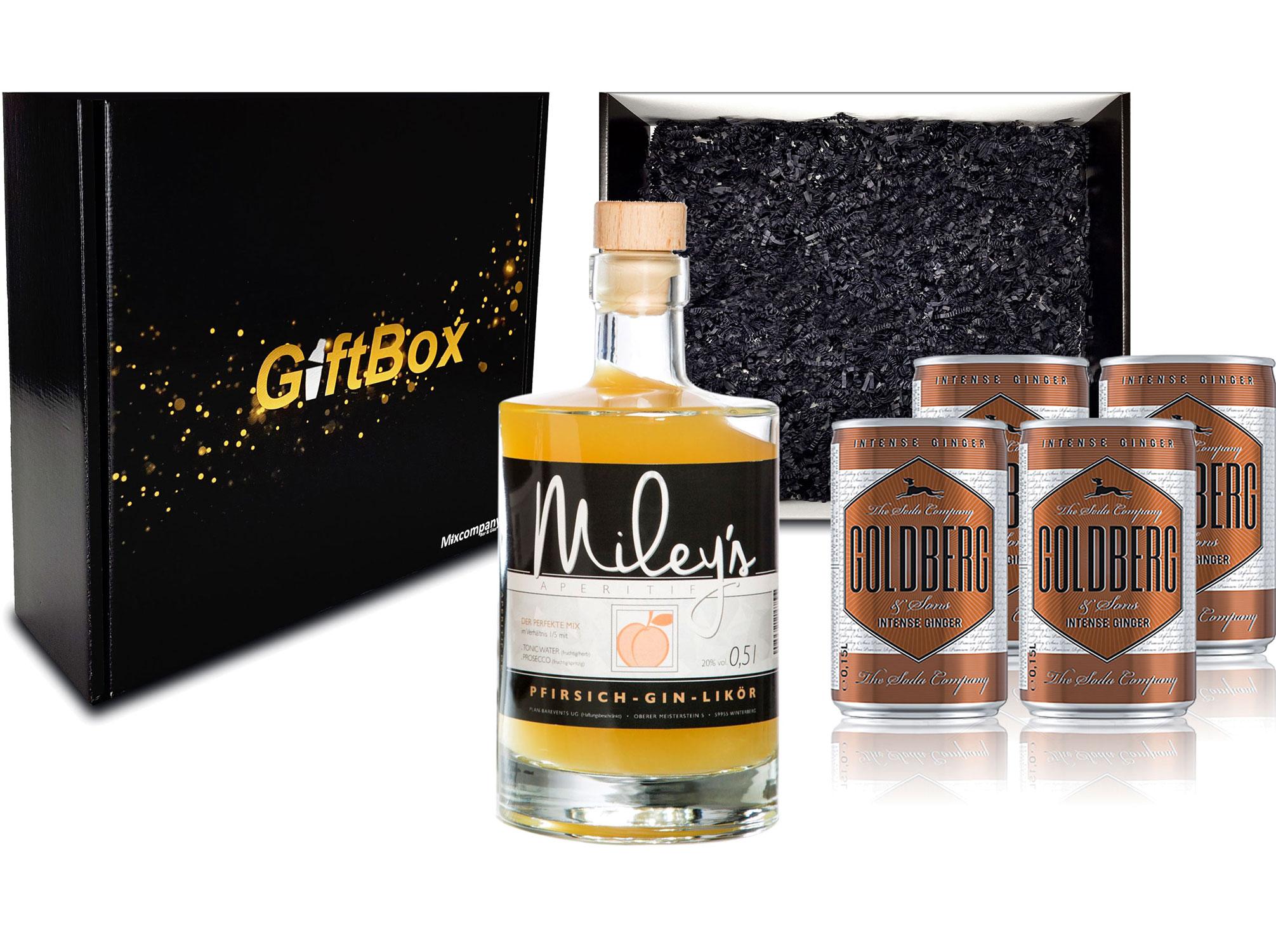 Gin Tonic Giftbox Geschenkset - Mileys Pfirsich Gin Likör 0,5l (20% Vol) + 4x Goldberg Intense Ginger 150ml inkl. Pfand EINWEG - [Enthält Sulfite]