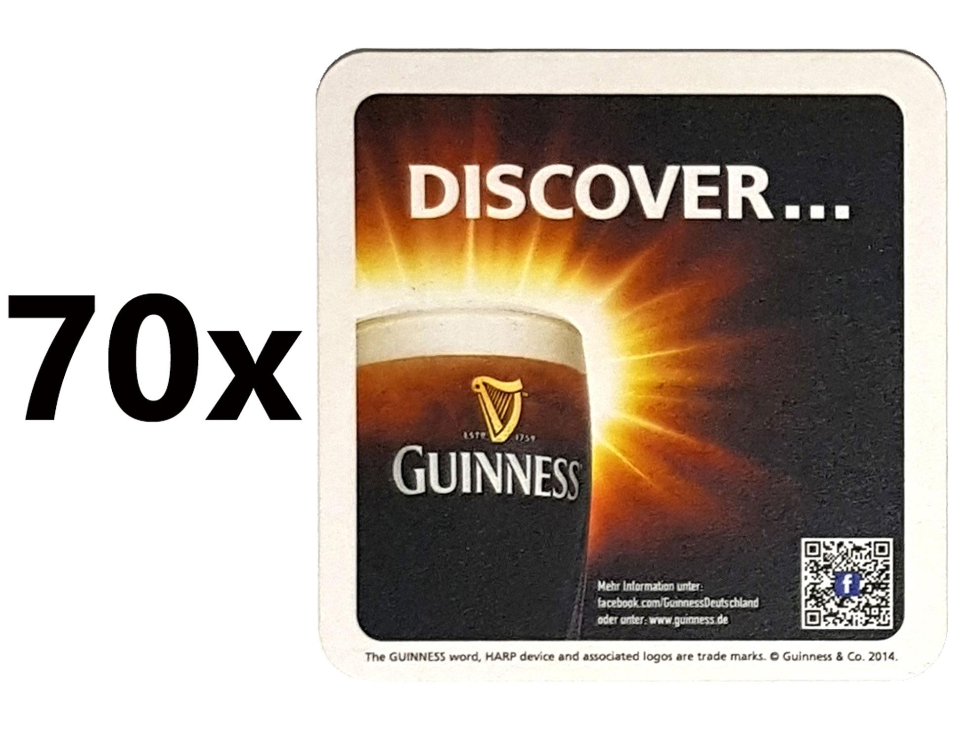 Guinness Discover Bierdeckel Untersetzer Unterlage Pappdeckel Bierfilz - 70er Packung