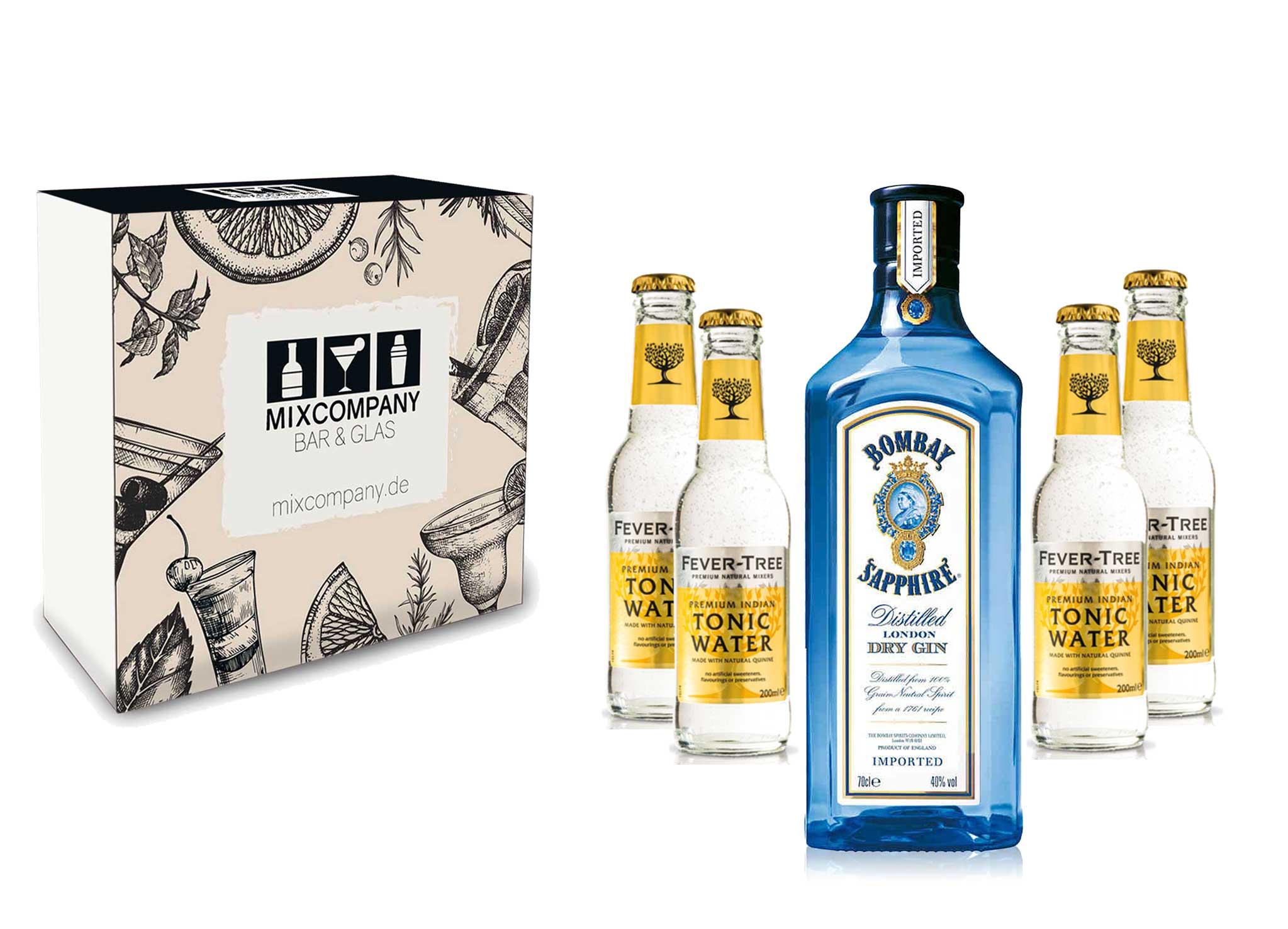 Gin Tonic Giftbox Geschenkset - Bombay Sapphire 0,7l 700ml (40% Vol) + 4x Fever Tree Tonic Water 200ml inkl. Pfand MEHRWEG + Geschenkverpackung
