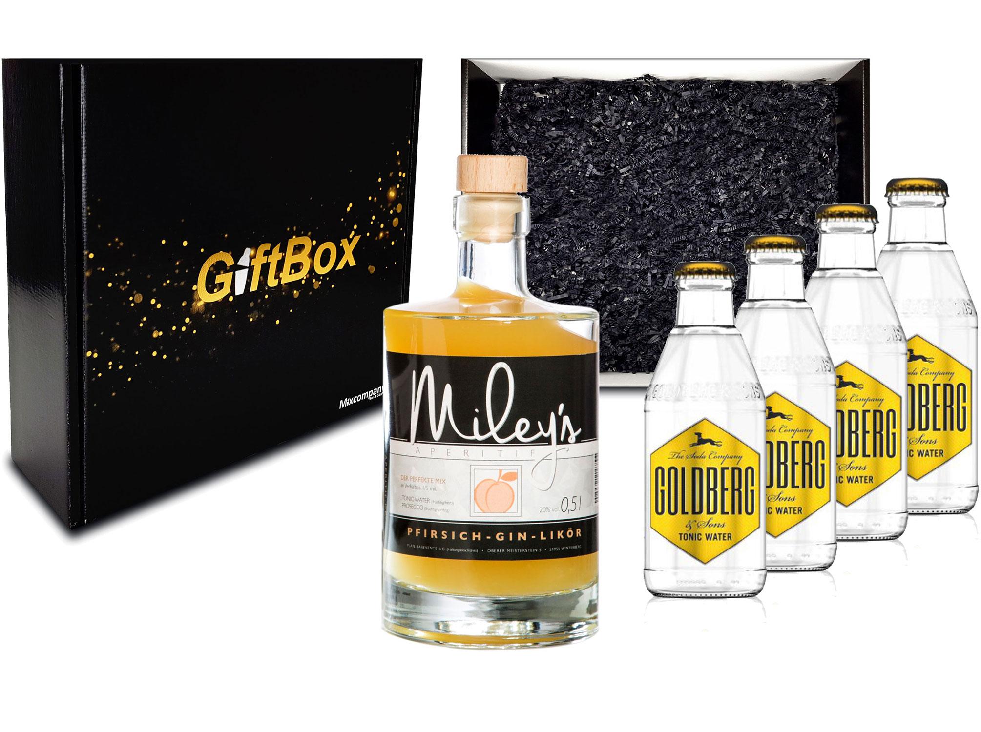 Gin Tonic Giftbox Geschenkset - Mileys Pfirsich Gin Likör 0,5l (20% Vol) + 4x Goldberg Tonic Water 200ml inkl. Pfand MEHRWEG - [Enthält Sulfite]