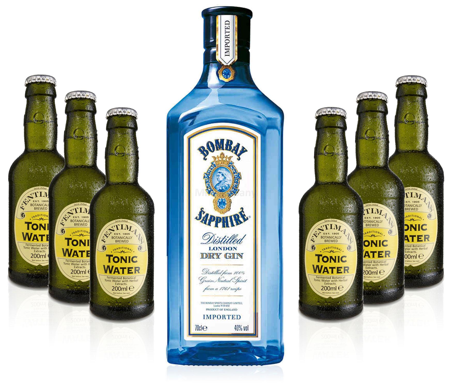 Gin Tonic Set - Bombay Sapphire 0,7l 700ml (40% Vol) + 6x Fentimans Tonic Water 200ml - Inkl. Pfand MEHRWEG