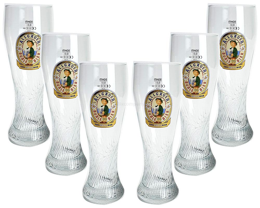 6er Set Allgäuer Büble Bier 0,5L Eichung - Glas Gläser Set - 6x Biergläser