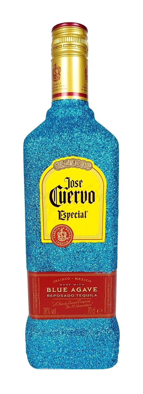 Jose Cuervo Tequila Reposado Especial 0,7l 700ml (38% Vol) Bling Bling Glitzerflasche in blau -[Enthält Sulfite]