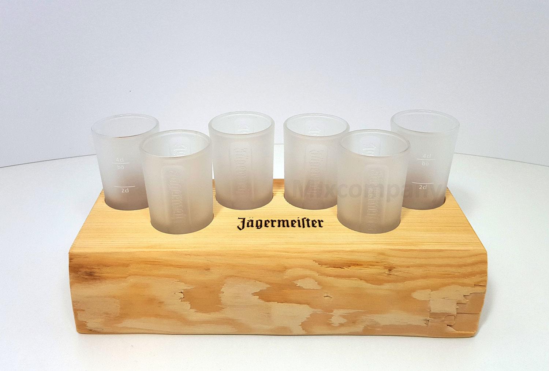 Jägermeister Set - 5x Shotgläser geeicht 2/4cl + Serviertablett nur für 5 Gläser geeignet, Echtholz