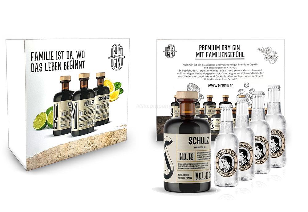 Mein Gin + Tonic Giftbox Geschenkset - Schulz Premium Dry Gin 0,5l (41% Vol) - Schulz s Gin No19 + 4x Thomas Henry Elderflower Tonic Water 200ml inkl. Pfand MEHRWEG -[Enthält Sulfite]