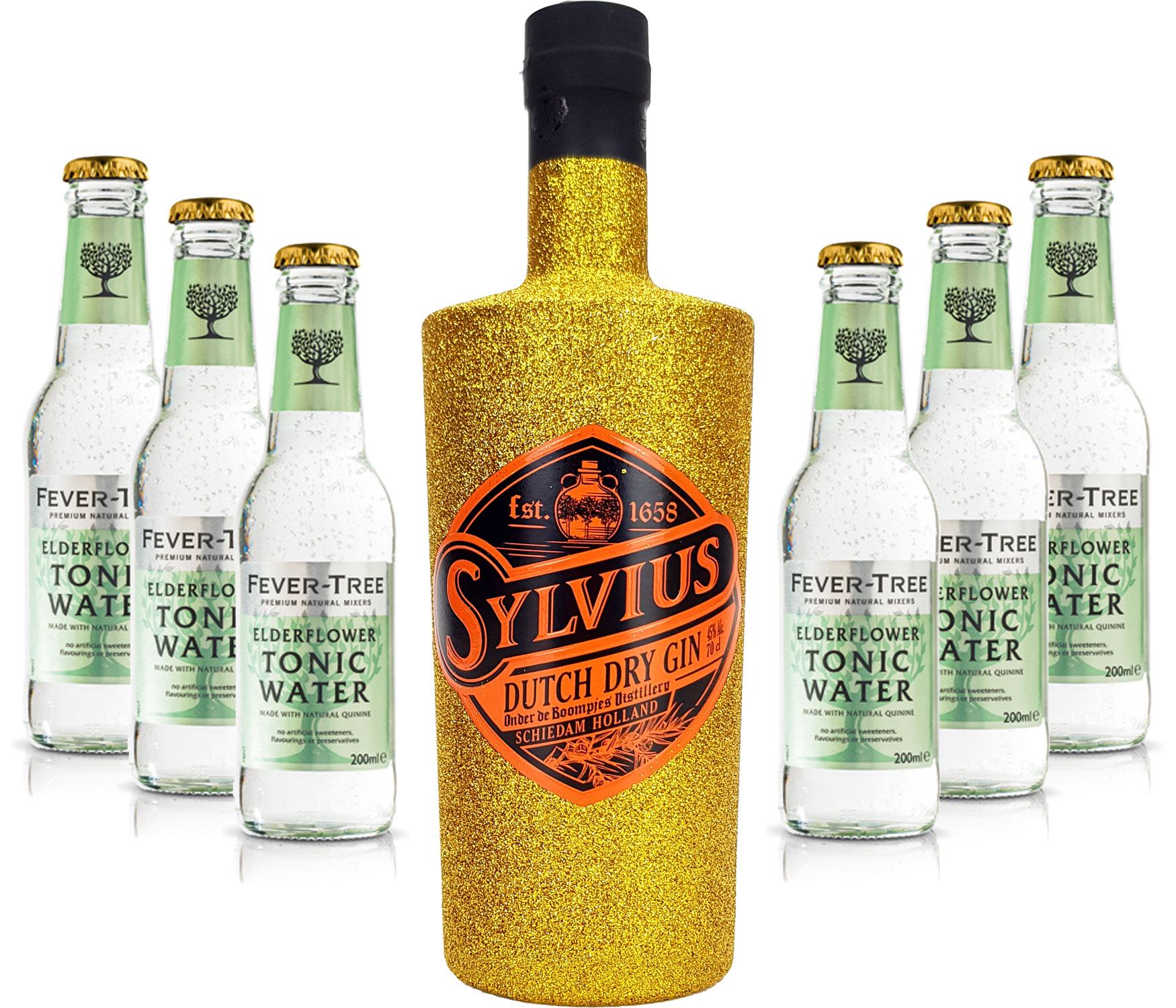 Gin Tonic Bling Bling Gold Glitzer Set Geschenkset - Sylvius Dutch Gin 0,7l 700ml (45% Vol) + 6x Fever Tree Elderflower Tonic Water 200ml inkl. Pfand MEHRWEG -[Enthält Sulfite]