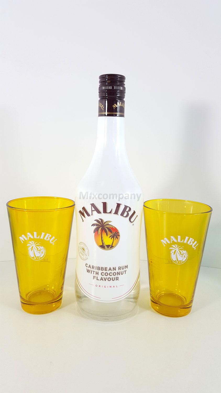 Malibu Caribbean Rum/Likör 0,7l 700ml (21% Vol) + 2x Gläser 2cl geeicht , Gelb