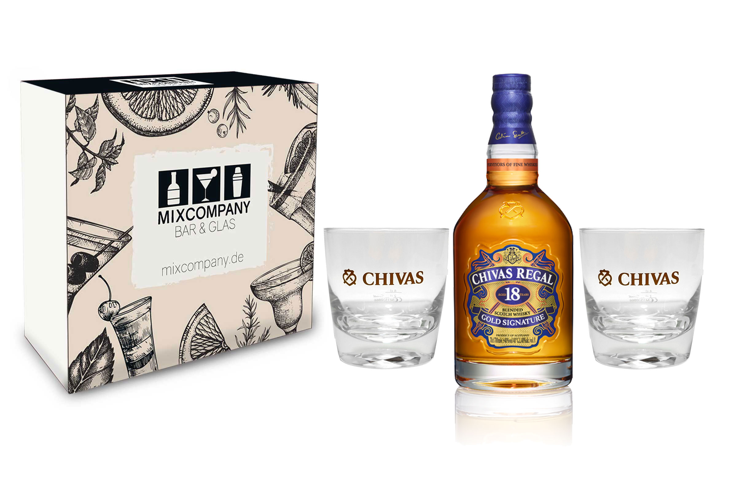 Chivas Regal Set / Geschenkset - Chivas Regal Gold Signature 18 Jahre Whisky ,Whiskey,Scotch 0,7l (40% Vol) + 2 Tumbler