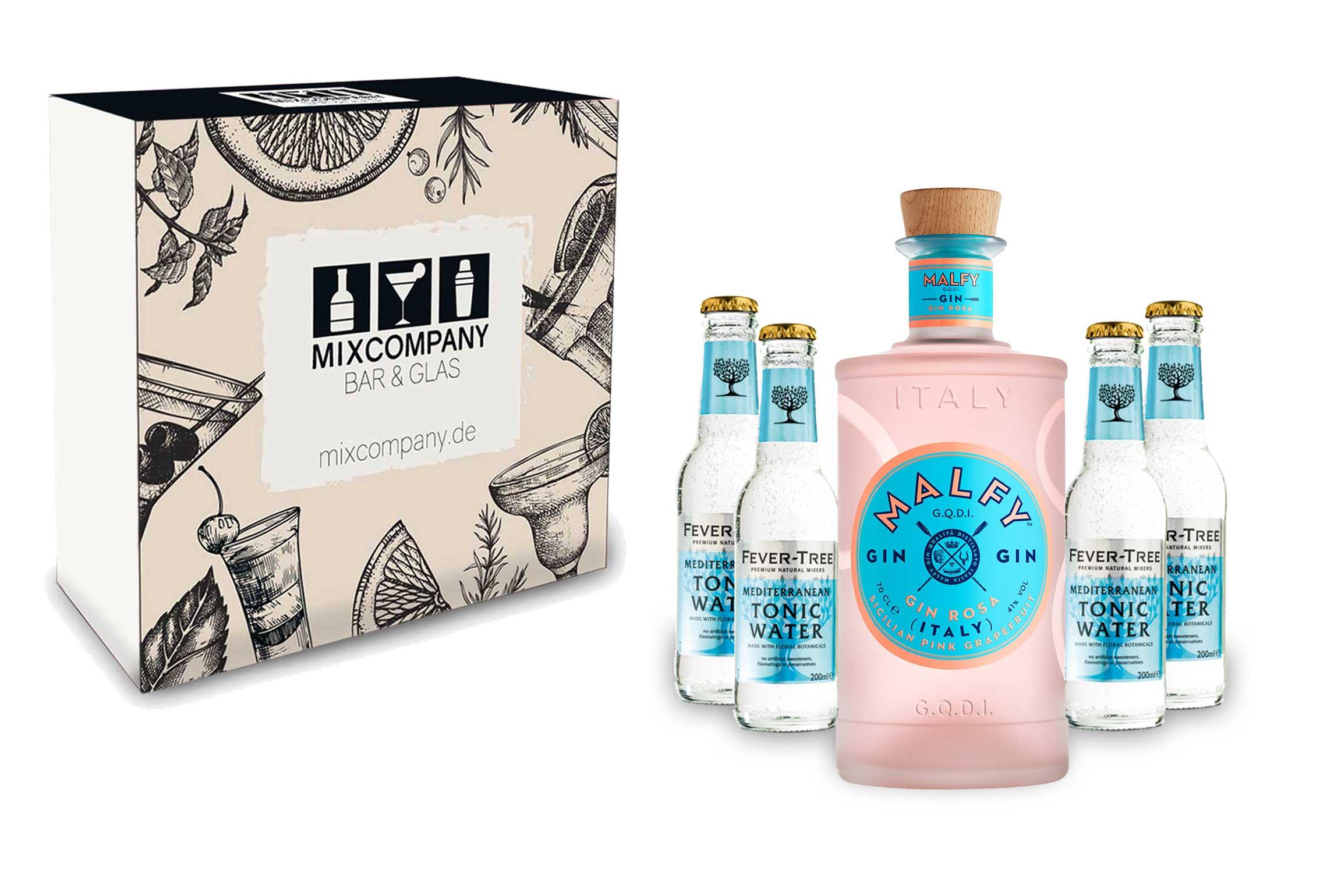 Malfy Gin Tonic Giftbox Set - Malfy Gin Rosa 0,7l - 700ml (41% VOL) + 6x Fever-Tree Mediterranean Tonic Water 200ml inkl. Pfand MEHRWEG- [Enthält Sulfite]