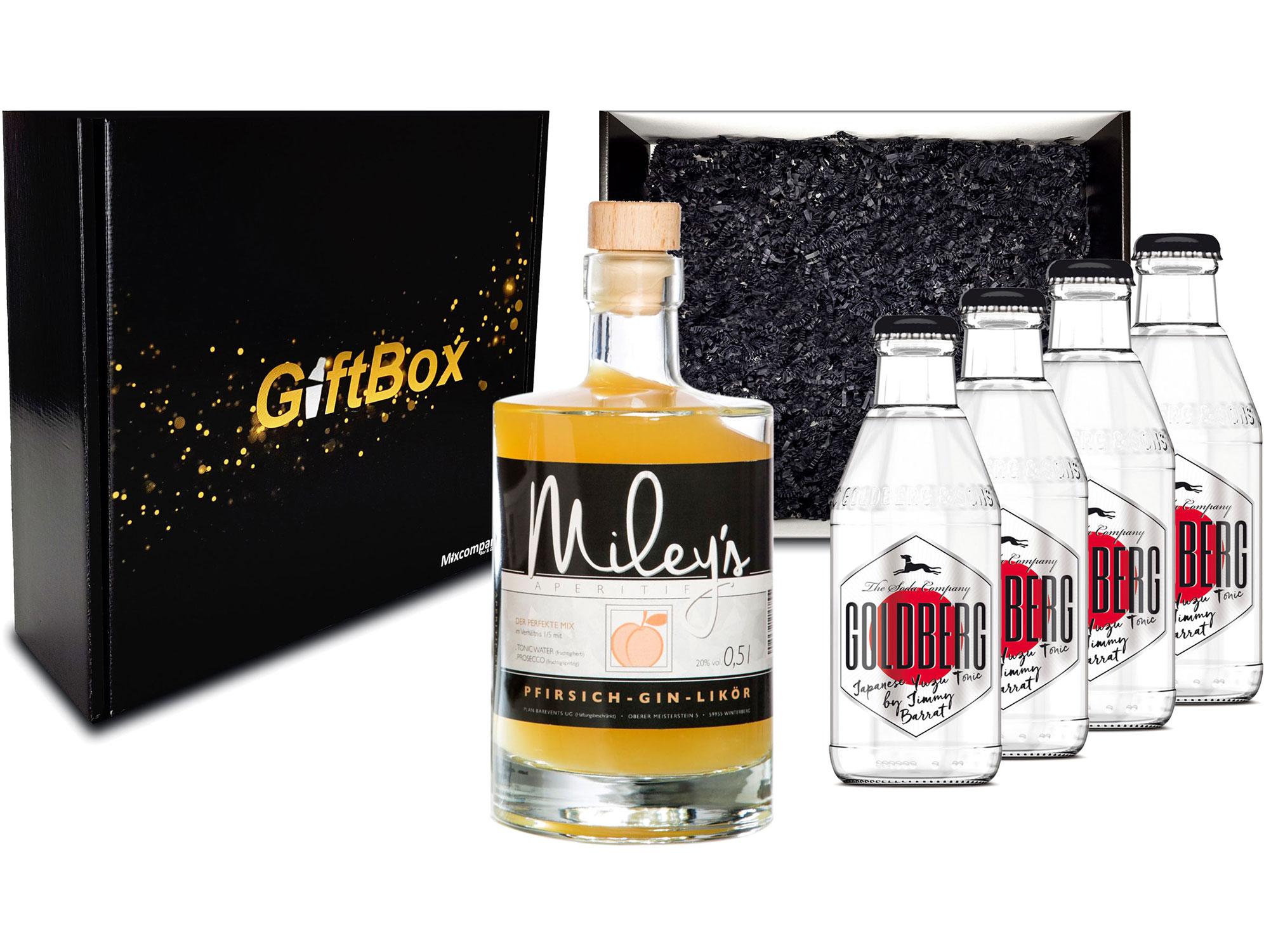 Gin Tonic Giftbox Geschenkset - Mileys Pfirsich Gin Likör 0,5l (20% Vol) + 4x Goldberg Japanese Yuzu Tonic Water 200ml inkl. Pfand MEHRWEG - [Enthält Sulfite]